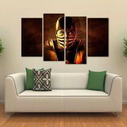 Quadro Mortal Kombat Scorpion Mosaico Sala Em Tecido 4 Peças 140 x 80 cm