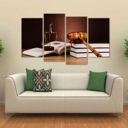Quadro Martelo E Balança Símbolo Da Justiça Tecido 4 Peças 1 140 x 80 cm