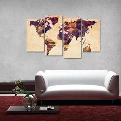Quadro Mapa Mundi Colorido Vintage Em Tecido 4 Peças 1 140 x 80 cm