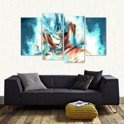 Quadro Goku Super Sayajin Blue Quarto Em Tecido 4 Peças 1 140 x 80 cm
