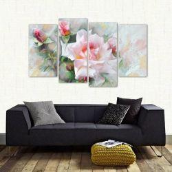Quadro Flor Rosa Branca Sala Quarto Em Tecido 4 Peças 1 140 x 80 cm