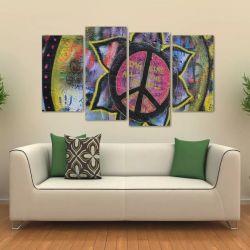 Quadro Decorativo Símbolo Da Paz Sala Em Tecido 4 Peças 1 140 x 80 cm