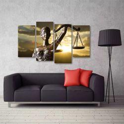 Quadro Decorativo Símbolo Da Justiça Em Tecido 4 Peças 1 140 x 80 cm