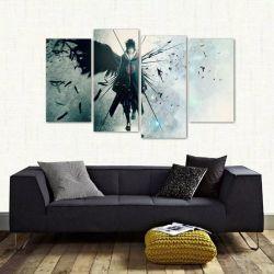 Quadro Decorativo Sasuke Uchiha Mosaico Em Tecido 4 Peças 1 140 x 80 cm