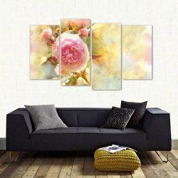 Quadro Decorativo Rosa Flor Sala Mosaico Em Tecido 4 Peças 1 140 x 80 cm