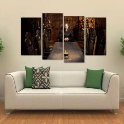 Quadro Decorativo Ragnar Lothbrok Vikings Em Tecido 4 Peças 140 x 80 cm