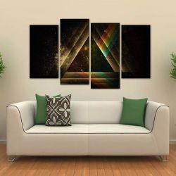 Quadro Decorativo Pink Floyd Sala Em Tecido 4 Peças 1 140 x 80 cm