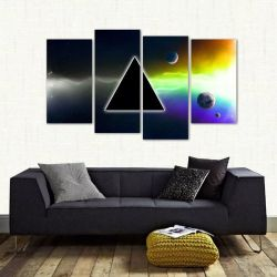 Quadro Decorativo Pink Floyd Quarto Em Tecido 4 Peças 1 140 x 80 cm