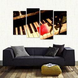 Quadro Decorativo Piano E Rosa Mosaico Em Tecido 4 Peças 1 140 x 80 cm