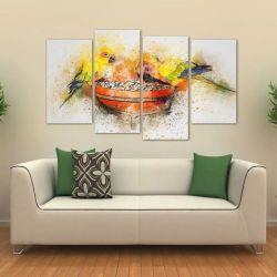 Quadro Decorativo Papagaio Artístico Em Tecido 4 Peças 1 140 x 80 cm