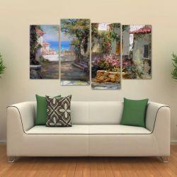 Quadro Decorativo Paisgem Sala Quarto Em Tecido 4 Peças 1 140 x 80 cm