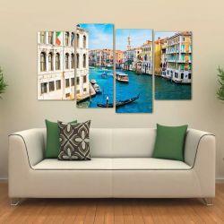 Quadro Decorativo Paisagem Veneza Em Tecido 4 Peças 1 140 x 80 cm
