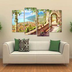 Quadro Decorativo Paisagem Sala Mosaico Em Tecido 4 Peças 1 140 x 80 cm