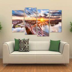 Quadro Decorativo Paisagem Por Do Sol Sala Em Tecido 4 Peças 140 x 80 cm