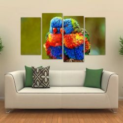 Quadro Decorativo Paisagem Pássaros Mosaico Tecido 4 Peças 1 140 x 80 cm