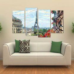 Quadro Decorativo Paisagem Paris Artístico Em Tecido 4 Peças 140 x 80 cm
