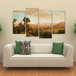 Quadro Decorativo Paisagem Mosaico Em Tecido 4 Peças 1 140 x 80 cm