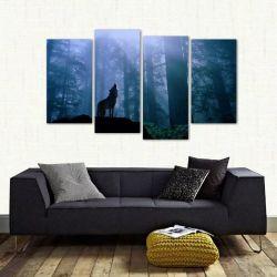 Quadro Decorativo Paisagem Lobo Uivando Sala Tecido 4 Peças 140 x 80 cm