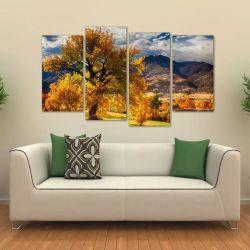 Quadro Decorativo Paisagem Árvore Amarela Em Tecido 4 Peças 140 x 80 cm