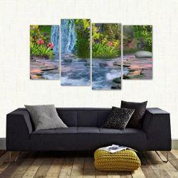 Quadro Decorativo Paisagem Artistico Sala Em Tecido 4 Peças 140 x 80 cm
