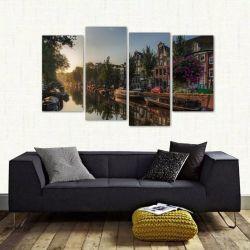 Quadro Decorativo Paisagem Amsterdã Lago Em Tecido 4 Peças 1 140 x 80 cm