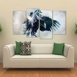 Quadro Decorativo Paisagem Águia Mosaico Em Tecido 4 Peças 1 140 x 80 cm