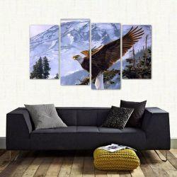Quadro Decorativo Paisagem Águia Escritório Tecido 4 Peças 1 140 x 80 cm