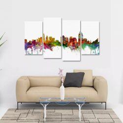 Quadro Decorativo Ohio Artístico Colorido Em Tecido 4 Peças 140 x 80 cm