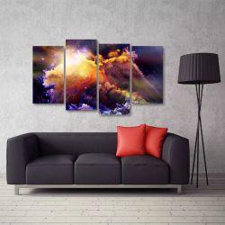 Quadro Decorativo Nuvem Colorida Mosaico Em Tecido 4 Peças 1 140 x 80 cm