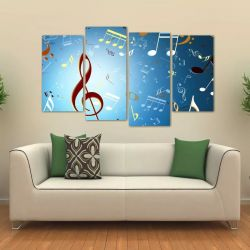 Quadro Decorativo Notas Musicais Mosaico Em Tecido 4 Peças 1 140 x 80 cm