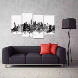Quadro Decorativo New York Preto E Branco Em Tecido 4 Peças 140 x 80 cm