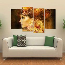 Quadro Decorativo Mulher Abstrata Escritório Tecido 4 Peças 140 x 80 cm
