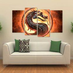 Quadro Decorativo Mortal Kombat Mosaico Em Tecido 4 Peças 1 140 x 80 cm