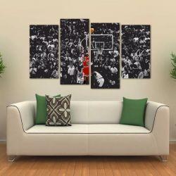Quadro Decorativo Michael Jordan Mosaico Em Tecido 4 Peças 1 140 x 80 cm