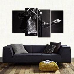 Quadro Decorativo Michael Jackson Quarto Tecido 4 Peças 1 140 x 80 cm