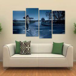 Quadro Decorativo Michael Jackson Quarto Em Tecido 4 Peças 1 140 x 80 cm