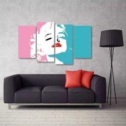 Quadro Decorativo Marilyn Monroe Quarto Em Tecido 4 Peças 11 140 x 80 cm