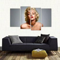 Quadro Decorativo Marilyn Monroe Quarto Em Tecido 4 Peças 1 140 x 80 cm