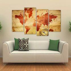 Quadro Decorativo Mapa Mundi Vintage Sala Em Tecido 4 Peças 140 x 80 cm
