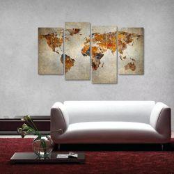 Quadro Decorativo Mapa Mundi Vintage Retrô Em Tecido 4 Peças 140 x 80 cm