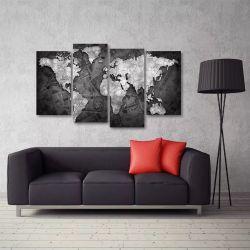 Quadro Decorativo Mapa Mundi Preto E Branco Tecido 4 Peças 1 140 x 80 cm