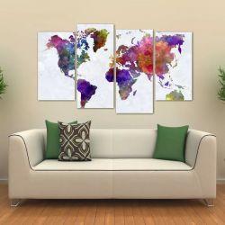 Quadro Decorativo Mapa Mundi Colorido Mosaico Tecido 4 Peças 140 x 80 cm