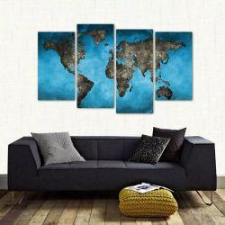 Quadro Decorativo Mapa Mundi Em Tecido 4 Peças 140 x 80 cm