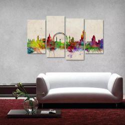Quadro Decorativo Color Mosaico Em Tecido 4 Peças 1Re 140 x 80 cm