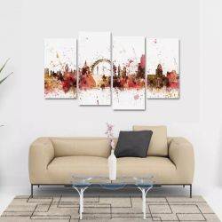 Quadro Decorativo Color Mosaico Em Tecido 4 Peças 140 x 80 cm