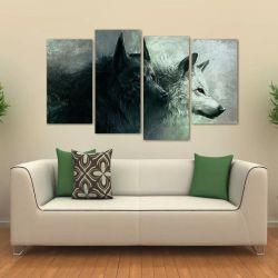 Quadro Decorativo Lobo Uivando Mosaico Em Tecido 4 Peças 1Re 140 x 80 cm