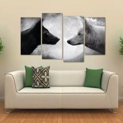 Quadro Decorativo Lobo Preto E Branco Mosaico Tecido 4 Peças 140 x 80 cm