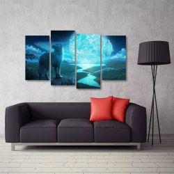 Quadro Decorativo Lobo Artístico Sala Em Tecido 4 Peças 1Res 140 x 80 cm