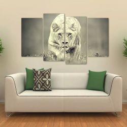 Quadro Decorativo Leoa Sala Em Tecido 4 Peças 140 x 80 cm