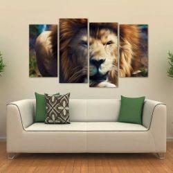 Quadro Decorativo Leão Artístico Animais Em Tecido 4 Peças 1 140 x 80 cm